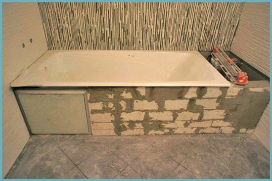 монтаж кирпича под ванну