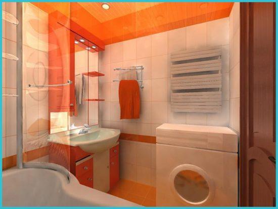 Стиральная машина в дизайне ванной в хрущевке