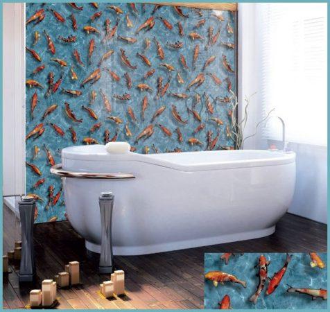 оклеивание стен ванной комнаты пленкой