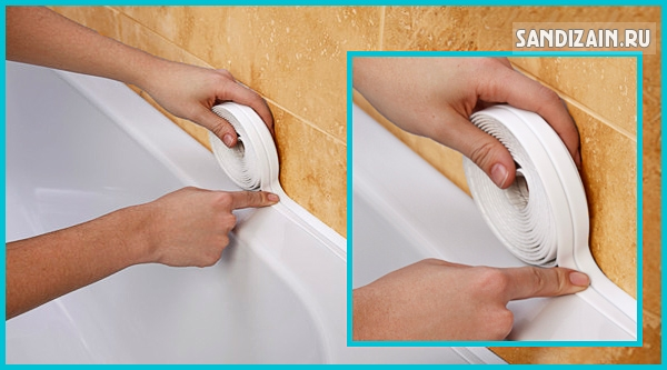 Монтаж бордюрной лентаы для ванной