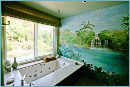рисунок красками на стене ванной комнаты