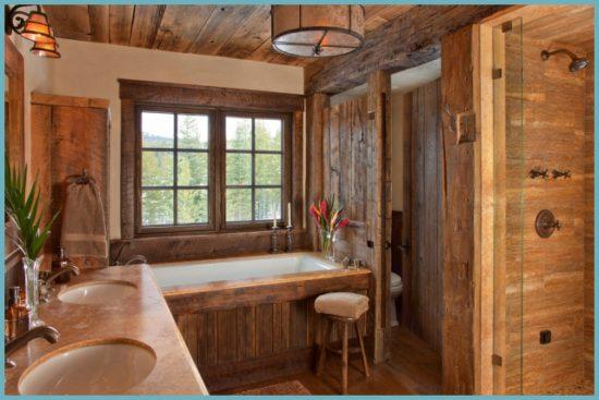 деревенский интерьер ванной комнаты
