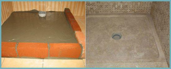 как сделать душевой поддон с бетонным основанием своими руками
