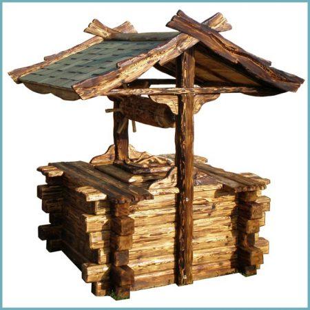 деревянный шахтный колодец