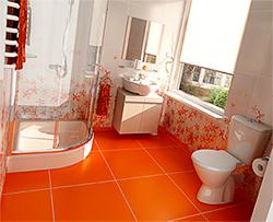 ванная комната оранжевого цвета