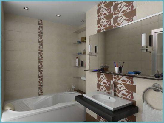 оформление стен небольшой ванной