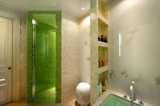 Оформление ванной комнаты с душевой кабиной