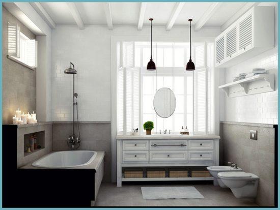 Выполняя ванную в стиле прованс, отдайте предпочтение деревянным окнам и дверям
