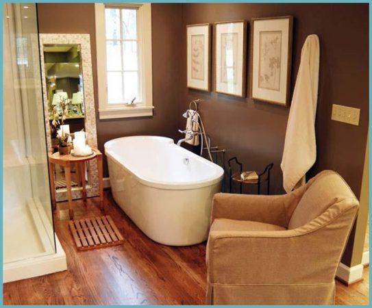 коричневый цвет стен в ванной