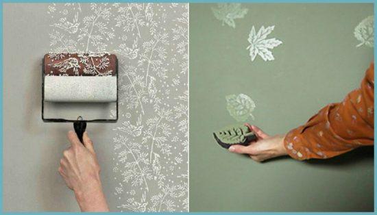 как нанести узор на стены в ванной