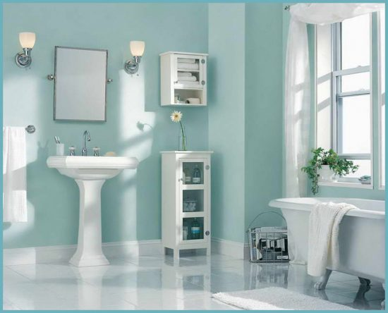 дизайн ванной с окрашенными стенами