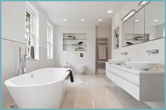 белый цвет стен в ванной
