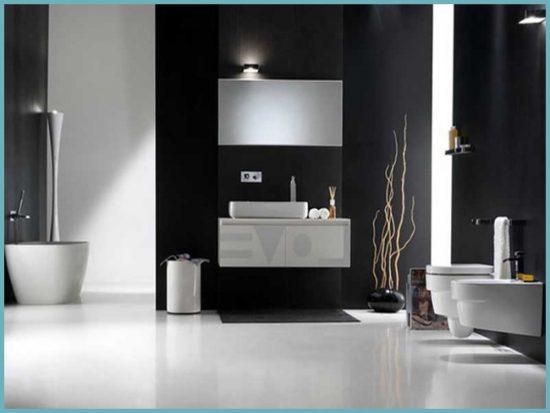 черный цвет стен в ванной