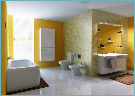 желтый цвет стен в ванной