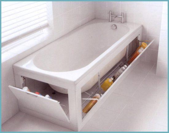 экран под ванну с полками