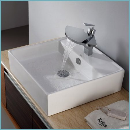 накладная раковина в дизайне ванной комнаты
