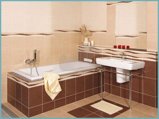 плитка бежевая в ванной
