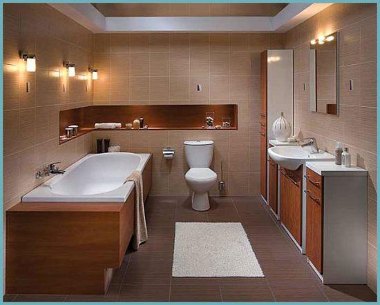 сантехника для ванной в коричнево-бежевых тонах