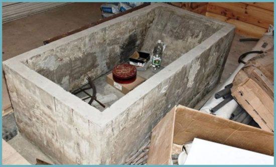отделка ванны из бетона