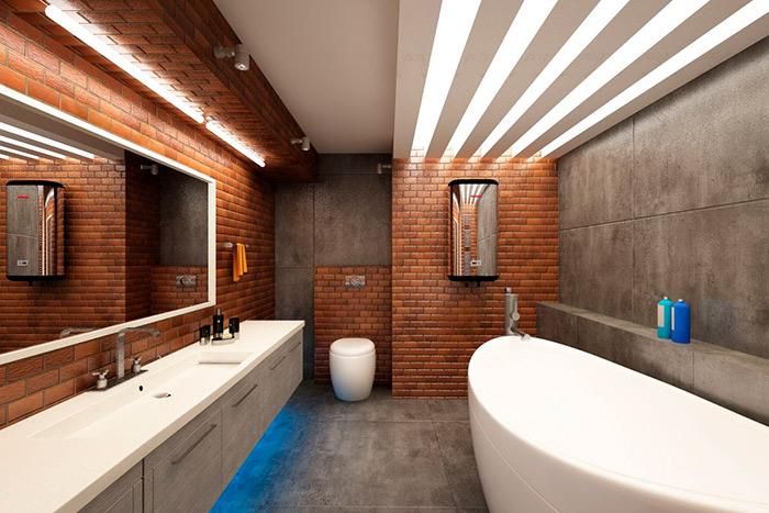 просторная совмещенная ванная лофт