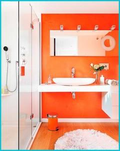 ванная комната в оранжевых тонах