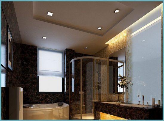 монтаж подвесного потолка в ванной комнате