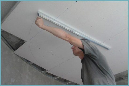 как монтировать потолок из гипсокартона в ванной