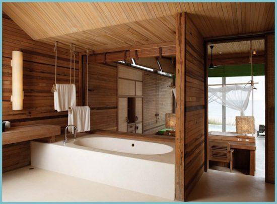 отделка деревом потолка в ванной