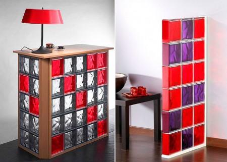 элементы мебели и декора из стеклоблоков