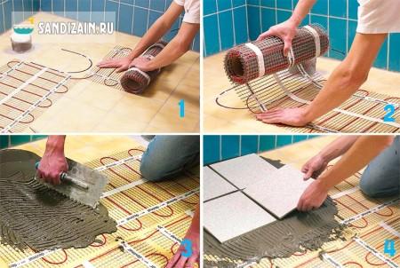 Укладка напольной плитки на теплый пол