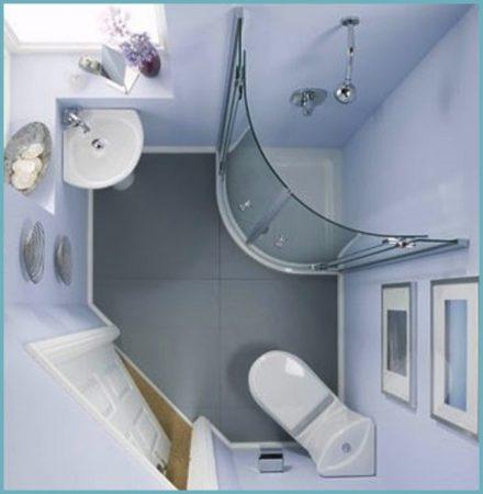 угловая сантехника в интерьере ванной