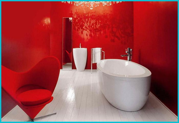 Дизайн ванной в красных тонах.