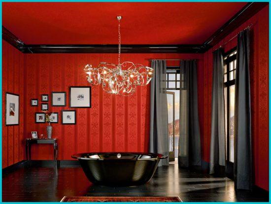 Дизайн ванной комнаты в красных тонах