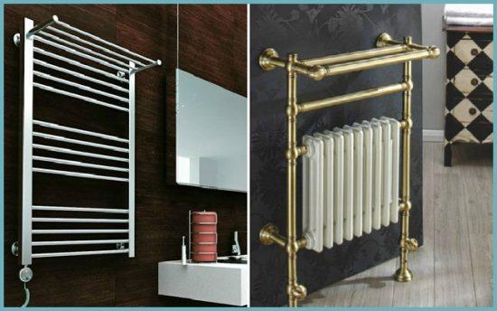 полотенцесушитель с полкой в дизайне ванной комнаты