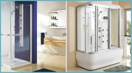 душевая кабина в интерьере ванной комнаты