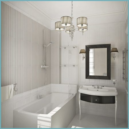 оформление ванной комнаты в белом цвете