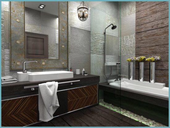 использование разных отделочных материалов для дизайна ванной в стиле лофт