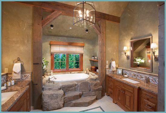 деревенский стиль ванной комнаты
