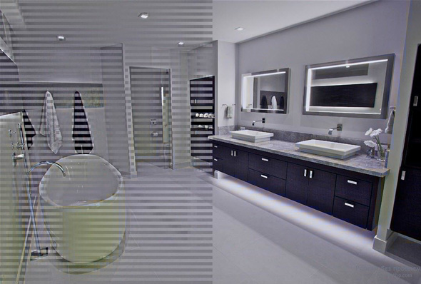 современный стиль ванной