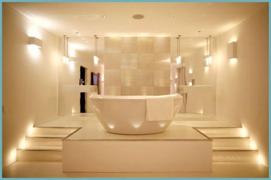 виды освещения для ванной