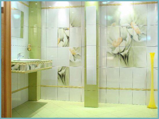 рисунок на плитке в ванной