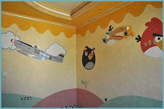 картина на стене жидкими обоями