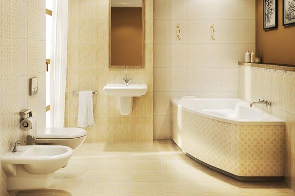 Коричневый и бежевый цвета в интерьере ванной